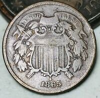 1865 Two Cent Piece 2C Ungraded Good Date Civil War Era US Copper Coin CC5750