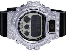 Mens Ladies Casio G Shock 6900 Black Glossy S.Steel Genuine Diamond Watch 3.0 Ct
