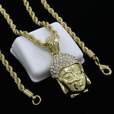 """Mens Gold Plated Iced Buddha Face Hip-Hop Pendant 30"""" Rope Chain Necklace D943"""