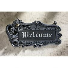 Medieval Dragon Welcome Gothic Wall Plaque Ebony Finish Sign