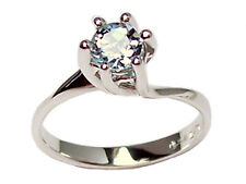 Solitaire ring women's white gold 18 ct with aquamarine natural