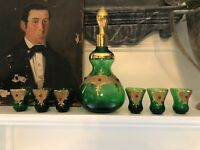 Vintage Murano Italian Jeweled Heavy Gilded Liqueur Set Emerald Green Holidays