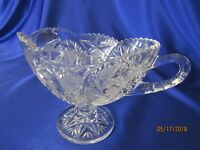 HandCut Bleikristall 24% Crystal Footed Gravy Boat *Imperlux Anna Hutte *Germany