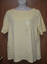 Womens Yellow Textured Charter Club Elbow Sleeve Boatneck Shirt Size 3x