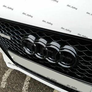 Noir Brillant Avant CALANDRE Anneaux Logo Emblème Audi A3 A4 A5 A6 273x94 Devant