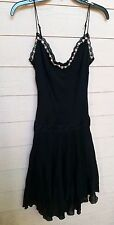 VINTAGE 90'S BETSEY JOHNSON SLIP DRESS SHEER DOTTED NYLON WITH DROP WAIST *S*