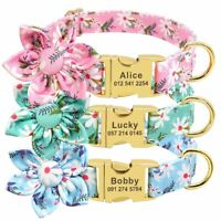 Fashion Printed Dog Collar Personalized Engraved Tag Nylon Puppies Cats Necklace