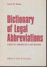 Legal Abbreviations Dictionary Used in American Law Books Bieber 1979