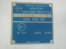 TARGHETTA IDENTIFICATIVA DATI LANCIA FULVIA COUPE' 1600 HF 2^ SERIE
