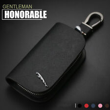 Cross Pattern Leather Car Remote Key Chain Holder Case Bag Fit For Jaguar Auto