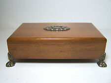 Vintage Wooden Cigarette Box with raised Silver Plate feet and Top Oval Design