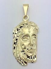 10K Yellow Gold Jesus Christ Face Crown with Thorns Religious Charm Pendant 4.8g