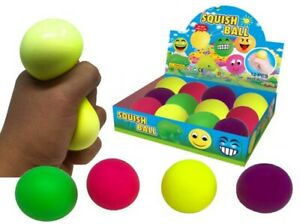 Squishy Neon Stress Ball! Squeeze Kids Party Bag Filler Toy 6cm UK Seller,