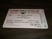 1952-1953 LEHIGH VALLEY RAILROAD EMPLOYEE PASS #19395