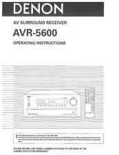 Denon AVR-5600 Receiver Owners Manual