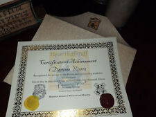 Hufflepuff Certificate of Appreciation with Party Invitation and Bonus Pendant!