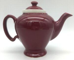 MCCORMICK TEA BALTIMORE USA 4 cup Teapot  With Lid & Infuser Burgundy Vintage