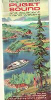 1962 Ferry Cruises on Puget Sound & Adjacent Inland Waters Brochure Scenic Map