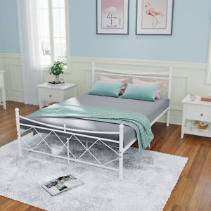 Panana Bed 4FT Small Double Retro Metal Bed Frame With Sprung Foam Mattress Base