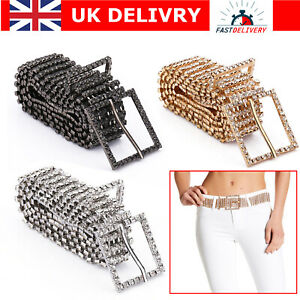 5 & 8 Row Diamante Ladies Waist Charm Belt in Silver Gold Gunmetal S M L Size