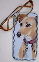 LURCHER HOUND DOG NEOPRENE GLASSES CASE POUCH SANDRA COEN ARTIST PRINT