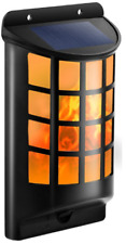 66 LED Solar Powered Outdoor Wall Light Flickering Flame