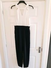 River Island white and black cut out jumpsuit, Size 12
