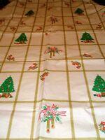 Vintage Tablecloth 52 x 90 Vinyl Oblong Holiday Trees Bells Candles