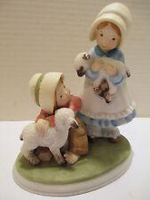 1977 Holly Hobbie Designers Collection Porcelain Figurine Boy & Girl & Lambs Euc