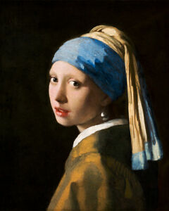 The Girl with a Pearl Earring (1665) J. Vermeer wall art poster print home decor