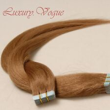"""20"""" A+ Virgin Remy European Hair Seamless Tape-in Extensions #10 (Med/Lit Brown)"""