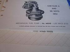 ORIGINAL 1951 DE SOTO & Chrysler 6 Carter FUEL PUMP Tests/ Pump List