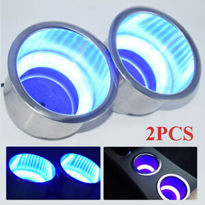 2PCS Stainless Steel Cup Drink Holder Blue LED Built-in For Marine Boat Truck RV