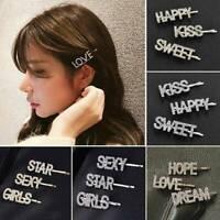 3pcs Women Girls Crystal Rhinestone Letters Hair Clip Barrette Hairpins Headwear