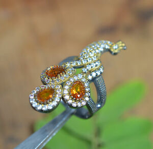925 BLACK OXIDIED AND BRASS CUT YELLOW CITRINE CZ TURKISH RING-7.5 US 1 v814