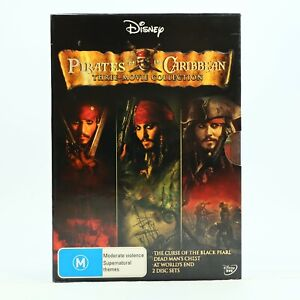Pirates Of The Caribbean 3 Movie Black Pearl Dead Man Collection Box Set DVD GC