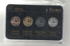 Luxemburg 2 € Prestige Metal Coinset 2014, Gold, Platin, Ruthenium, Neu, OVP