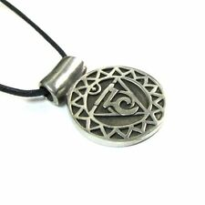 Visudda, the Throat Chakra Pewter Pendant on Corded Necklace #NI-CHK103