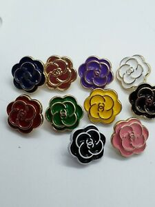 Set of 10 Chanel camellia tiny 12 mm buttons, one color of each