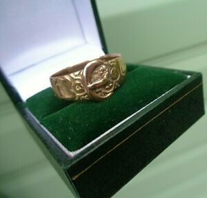 Attractive Victorian 9ct Rose Gold BUCKLE Floral Ring h/m 1896 Chester - size V
