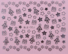 Christmas Nail Stickers Xmas Tree Star DIY Self Adhesive SILVER BLE 130J - uk