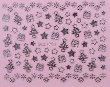 Christmas Nail Stickers Xmas Tree Star DIY Self Adhesive SILVER BLE 130J - uk