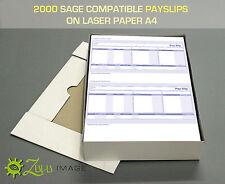 2000 SAGE COMPATIBLE PAYSLIPS ON LASER PAPER A4 size 2up 068025//SGE010/SE95