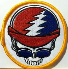 SKULL BIKER WITH USA AMERICAN FLAG COLORS  Embroidered Iron-On Morale Patch