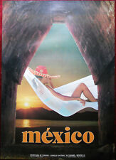Original Poster Mexico Girl in a beach chair Sunbathing Sea Sunset Tourism Sexy