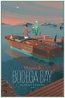 Laurent Durieux Bodega Bay Power Boat Print Poster BIRDS MONDO JAWS