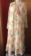 "Antique 1920's  Cream Silk Crepe Dress Jacket Slip Orange Floral 42"" B 45"" H"