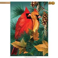 "Autumn Splendor Cardinals House Flag Fall Birds 28"" x 40"" Briarwood Lane"