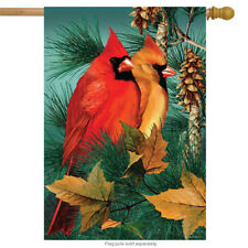 "Autumn Splendor Cardinals House Flag Fall Birds 28"" x 40"" Briarwood Lane"