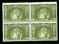 Canada Stamps # 209 VF OG NH Block 4 Scott Value $210.00